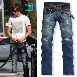 Wholesale Hot Sell Men Jeans - 2016 Men's Jeans Distress Washed Hole Sky Blue Mens Slim Straight Man Mid Waist Denim Fashion Designer Hot Selling 302