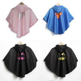 Wholesale Superhero Hats - 100*95 CM Including Hat Kids' Superhero Raincoat Slicker - Spider man Spidergirl Bat man Supergirl Batgirl Waterproof Rainwear High Quality