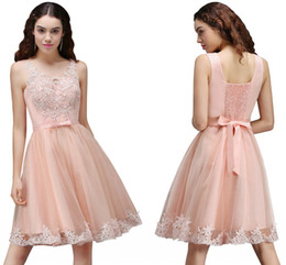 Wholesale Cheap Sexy Dresses For Juniors - 2017 Cheap Homecoming Dresses With Bow Sash Scoop Neck Pink Tulle A Line Short Prom Gowns For Junior Girl CPS666
