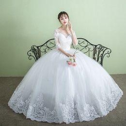 Wholesale Wholesale Plus Size Bridal Gown - 2017 A-line Wedding Dresses Thin Half Sleeve Lace Backless White Waist Bridal GownPrint FloralEleganceFluffy SkirtNew Plus Size B-29