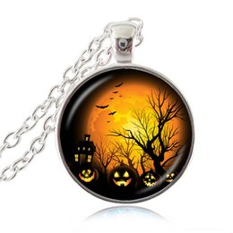 Wholesale Orange Tungsten - Halloween Pumpkin Necklace Halloween Accessories Trick or Treat Pendant with Orange Full Moon and Bat Photo Jewelry All Saints' Day Gifts