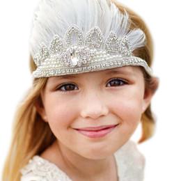 Wholesale White Feather Headbands - white Sparking Feather Baby Headband Kids Bohemian Crown Boho Chic Headband baby girl pearl rhinestone headband Pixie ribbons Crown princess