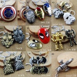 Wholesale Coolest Electronic Toys - Free DHL 100Pcs 15 Style Keyring Avengers 2 Keychain Movie X Men Superman Key Chain Movie Pendant Accessories Cool Toys Best Gift E