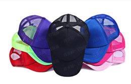 Wholesale Wholesale Trucker Hats Free Shipping - 2016 New arrive NEON Fluorescent   Mesh   Plain   Blank   Trucker   baseball hat cap 5pcs lot Free shipping 6 colors