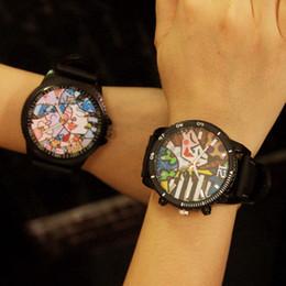Wholesale Stylish Boys Watches - Wholesale-Cool Stylish Graffiti Soft Rubber Gel Quartz Wrist Watch Watches Hours Clock for Women Girls Men Boy Students Black