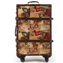 Wholesale 24 Spinners - 14 20 24inch suitcase HardShell PU leather+Wood 4 Wheels A set Travel Trolley Painting Cabin Luggage Retro board chassis lockbox