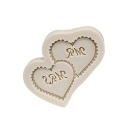 Wholesale Molds For Cupcakes - Wedding Decorating Mr. and Mrs Heart Shape Silicone Mold For Cake and Cupcake Decoration Fondant Cake Moulds Sugar Gumpaste Molds SM-862
