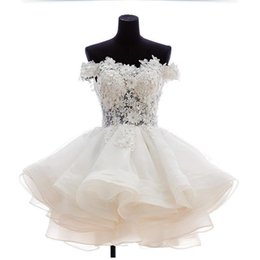Wholesale Plus Size Prom Dresses Stores - Short Mini Prom Dresses 2017 White Lace Appliques Off Shoulder Organza Homecoming Dress With Hand Made Flowers Sexy Illusion Online Store