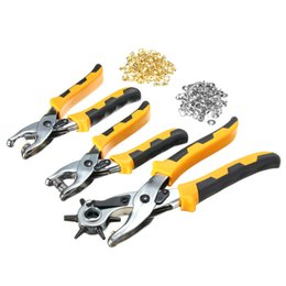 Wholesale Hole Plastic Buttons - 3 in1 Leather Belt Hole Punch+ Eyelet Plier +Snap Button Grommet Setter Tool Kit Black+Yellow+Silver Steel+PVC Plastic Handle