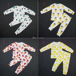 Wholesale Pajamas Cat Print - INS Baby Pajamas outfits fruit sets Tops+pant 2pcs set kids Lemon,pineapple,strawberry,cactus printing suit cartoon Cat mouse Pajamas C1449