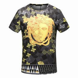 Wholesale Grids Brand New - famous New Summer Cotton tshirt fashion designer tag grid medusa palace Harajuku Homme color print Men Brand casual cotton tee top M-3XL