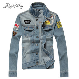 Wholesale Hooded Denim Coat - Wholesale- Denim Jackets Men Fashion Hip Hop Light Blue Cowboy Jacket Ripped Street Designer Classical Casual Brand Men Denim Coat DCT-016