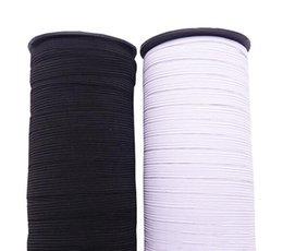 Elástico colorido on-line-6 MM 8 MM Branco / Preto Colorido Elastic Webbing Banda Para Calças DIY Garment Costura 5 Metros / rolo