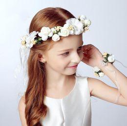 Wholesale Yellow Headbands For Children - 2pc set Fashion girls flower wreath headbands flowers wrist flower corsage for wedding children girl hair accessories Flower crown and wrist