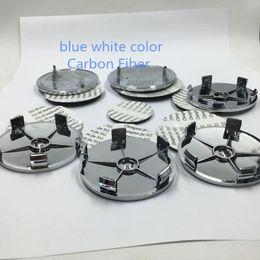 Wholesale Carbon Fiber Alloy Wheels - Car styling 7pcs set blue white carbon fiber Car Front Hood Emblem+Rear Emblem+4 Wheel Hub Cap + steering wheel logo sticker