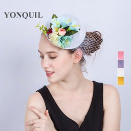 Wholesale White Mini Top Hat Fascinator - 2017 New style 4Colors Lady Mini silk flower Top Hats Cap veils Fascinator Hair Clip Costume Hair Band Accessories wedding show party SYF204