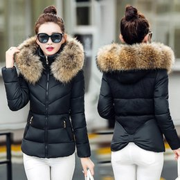 Wholesale Korean Jacket Female - 2017 New Winter Coat Female Short Slim Hooded Jacket Korean Fur Collar Size Thick Cotton Jacket