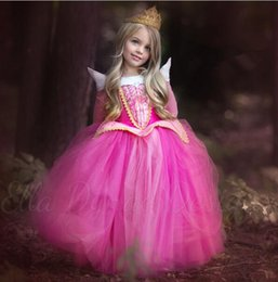 Wholesale Sleeping Beauty Dresses For Girls - 2016 New arrival princess girls Sleeping beauty dress Princess Aurora Pink dress for Party Wedding Christmas gift quality high