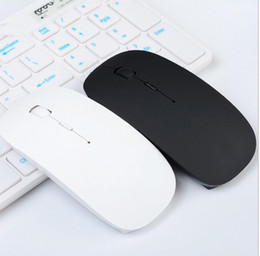 Wholesale Ultra Slim Wireless Mouse - Ultra Thin USB Optical Wireless Mouse 2.4G Receiver Super Slim Mouse For Computer PC Laptop Desktop black white Candy color