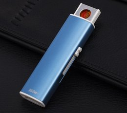 Wholesale Arc Shipping - SharpStone Lighter USB charging lighter windproof slim double arc pulsed arc creative personality electronic cigarette lighter free shipping