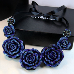 Wholesale Wholesale Fashion Bib Necklace - New Fashion Jewelry,Big Resin Crystal Blue Flower Necklaces & Pendants Statement Bib Chunky Choker Necklaces