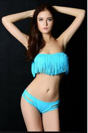 Wholesale green fringe bikini - Wholesale-2015 Women's New Hot Sale Tassels Swimwear Sexy Padded Fringe Bandeau Top Dolly Bikini Sets Swimsuits Vintage bkn01