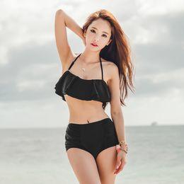Wholesale Bikini Bag - The new 2016 women's black falbala sexy beach fission swimsuit abundance bikini suit bag mail