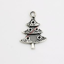 Wholesale antique christmas tree - 20pcs Antique Silver Plated Christmas Tree Charm Pendants for Bracelet Necklace Jewelry Making DIY Handmade Craft 25x17mm