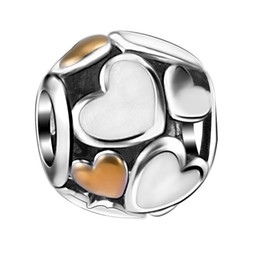 Wholesale Silver Plated European Beads - Fashion White Enamel & Gold Plated Hearts Charm 925 Sterling Silver European Charms Beads Fit Pandora Snake Chain Bracelets DIY Jewelry