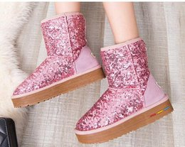Wholesale Hot Pink Glitter Heels - Hot Sale Women Low-heeled Glitter Snow Boots Winter Women Genuine Leather Ankle Boots Female Outdoor Warm Boots