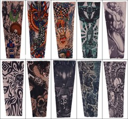 Wholesale Mixed Apparel - Fashion Nylon Tattoo Sleeve Stretchy Arm Stocking Mix 108 Styles Pop Design Apparel For Men Tattoos Sleeves Oversleeves Free DHL L4