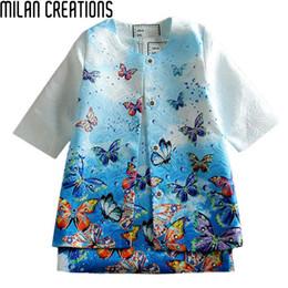 robes de baptême en soie Promotion Baby Girls Dress 2015 Vêtements pour enfants Vêtements de filles d'hiver Vestidos Butterfly Imprimé Robes Enfants pour les filles (robe + manteau)