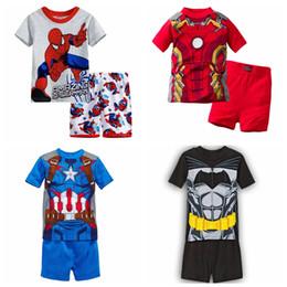 Niño vistiendo pijamas online-Nueva llegada Ropa para niños niño niña niño de dibujos animados conjunto de manga corta salón de verano para niños Pijamas conjunto bebé conjunto ropa de dormir