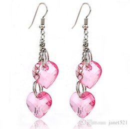 Wholesale Name Brand Fashion Jewelry - Brand Name Womens Jewelry Hanging Earrings Double Hearts Dangling Earrings Fashion Women Jewelry Valentines Day Gifts