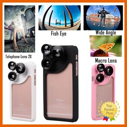 Wholesale Lens For Photo - Wide Angle Fisheye Lens Telephone Lens 2X Macro lens 4in1 External Photo Lens Case Hybrid Camera Case For IPhone 6 6s Plus