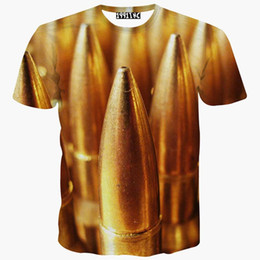 Wholesale Funny Tshirts Men - tshirt Clear Digital printing 3d t-shirt men's short sleeve casual t shirt funny print Bullet Hip Hop tshirts summer tops tees