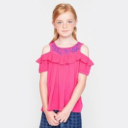 Wholesale Kids Embroidered T Shirts - Summer Big Girls Princess Tops Flower Embroidered Ruffle Kids T-shirt Cute Floral off shoulder Short Sleeve Children Blouses C2218