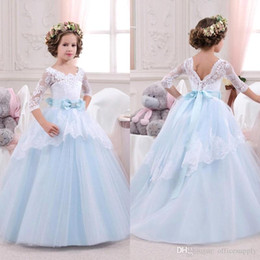 Wholesale Toddler Easter Shirt - 2016 Long Sleeves Baby Princess Flower Girl Dress Lace Appliques Wedding Prom Ball Gowns Birthday Communion Toddler Kids TuTu Dress