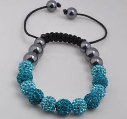 Wholesale Disco Balls Bracelet - Min.$15 Mixed Order+shamballa +Gift.gjitgyj blue fashion 10mm micro pave cz Disco Ball Beads Crystal Women Men Shamballa Bracelet. DIY