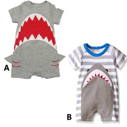 Wholesale Cute Outfits For Boys - Cute Shark romper 2styles for Baby Boys Girls Short Sleeve jumpsuit Toddler Summer shark pattern Outfit Clothes