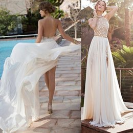 Wholesale Sexy Size 18 Dresses - Beaded Strapless High Split Sexy Backless A-Line White Ivory Wedding Dress Bridal Gown Custom Size 2 4 6 8 10 12 14 16 18 20 22 24 26 28
