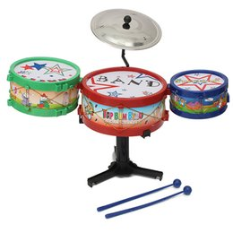 Wholesale musical instrument toy set - Wholesale- 4PCS Set Mini Children Drum Kit Toys Musical Instruments For Kids Music Learning & Educational Toys Gift