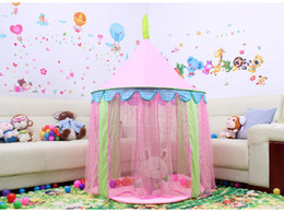 Wholesale Playing Girl Tent - Girls pink Princess lace Tent Cartoon Castle Play Game House Children's foldable Indoor Tent Gauze curtain Big size Ball Pool 140*104cm