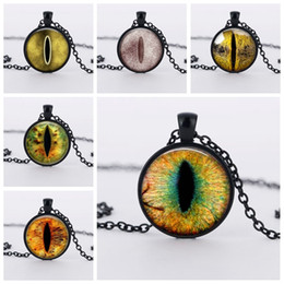 Wholesale Red Dragon Jewelry - Glass Photo Jewelry Dragon Eye Necklace Cat Eye Dome Pendant Necklace Blue Eye Cabochon Glass Necklace Jewelry