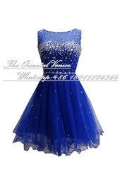 Wholesale Tulle Party Dresses For Girls - Real Image Blue Tulle Homecoming Dresses 2017 Sparkly Crystal Sequins Short Prom Dresses Cheap Party Gowns For Girls Fast Sipping