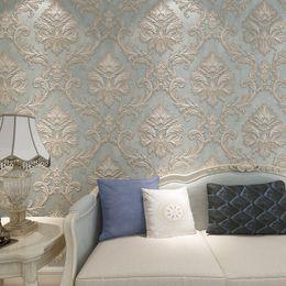Europäischer stil tapeten rollen online-Europäische Tapete für Wände 3 d Vintage Tapete Rolls Blue Damask Wall Paper Floral Non Woven 3D Raum Tapeten