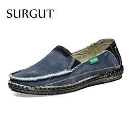 Wholesale Low Price Blue Jeans - Wholesale- SURGUT Brand New Arrival Low Price Mens Breathable High Quality Casual Shoes Jeans Canvas Casual Shoes Men Fashion Flats Loafer