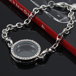 Wholesale Wholesale Floating Frames - Crystal round Circle Living Memory Locket Bracelet For Floating Charms can be open frame Bracelet
