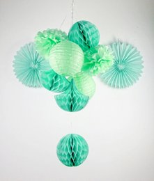 Wholesale Mint Wedding Decorations - Mint Shade 10x Party Decoration Set Tissue balls Tissue Fans Tissue Pom Poms  Lanterns  Honeycomb Drop Decor Weddings Showers
