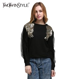 Wholesale Korean Clothes For Winter - Wholesale- TWOTWINSTYLE Black Pullover Sweater for Women Winter Female Knitted Tops Long Sleeve Sequins Wing Knitting Clothes Korean 2017